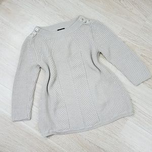 Ann Taylor XS Knit Sweater Chunky Cable Tan